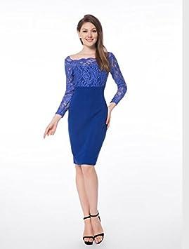 YELINGYUE Cuello Slash Bata Azul Mujeres Boda Vestidos De Encaje,6013Azul Royal,S