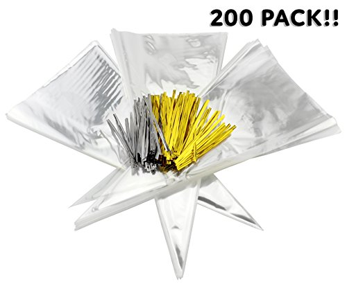 Cone-Shaped Treat Bags (200 Bags + 200 Twist Fastens); Clear Cellophane Goody, Treat & Popcorn Bags (15-Inch x 7 Inch) -