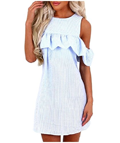Out Blue Light Dress Ruffle Casual Women Shoulder Weekend Cut Sun Coolred Vogue WTqYafWg