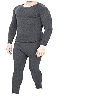 Younky Unisex Woolen Thermal Wear Top and Bottom Set (Black, Free Size)