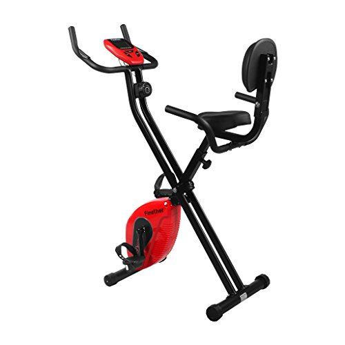 Finether Folding Magnetic Upright Exercise Bike Adjustable Fitness Equipment Work Out Machine with Pulse