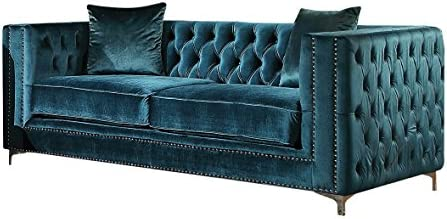 ACME Gillian Dark Teal Velvet Loveseat with 2 Pillows