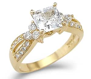 Amazon Com Solid 14k Yellow Gold Princess Cut Cz Cubic