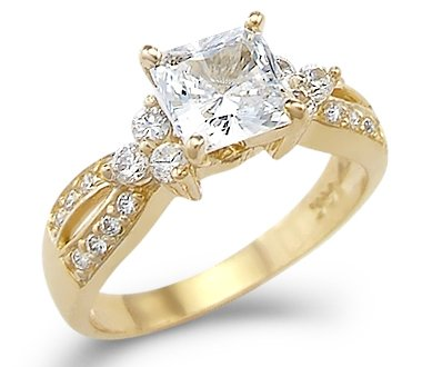 Size- 5 – Solid 14k Yellow Gold Princess Cut CZ Cubic Zirconia Engagement Wedding Ring 1.5 ct