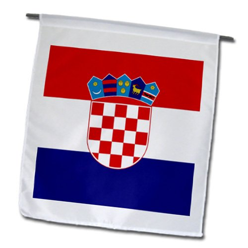 - 3dRose fl_158301_1 Flag of Croatia-Croat Red White Blue Stripes-Croatian Coat of Arms Shield-Europe Country World Garden Flag, 12 by 18-Inch