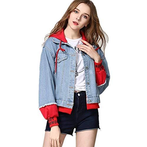 Jeans Stampati Giacca Maniche Cucitura Rot Casual Cappotto Autunno Outwear Sportivo Mieuid Lunghe Incappucciato Elegante Digitale Chic Donna Cute Fashion Primaverile Ragazze 1EXSEq5w