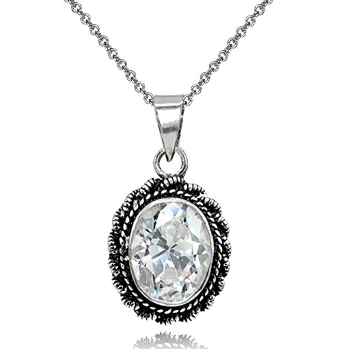 Sterling Silver Cubic Zirconia Oval Bali Inspired Twist Rope Pendant Necklace