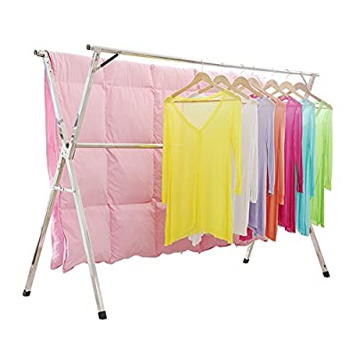 Clothes Drying Rack for Laundry Free Installed Space Saving Folding Hanger Rack Heavy Duty Stainless Steel - 【HEAVY DUTY DRYING RACK】: The Length can Flex from 43 to 59 inch, the Max Size is 59x30x52 inch. 【STAINLESS STEEL】: the Material Including the Fastenings is Stainless Steel, Perfect for Indoor or Outdoor Drying. 【SAVE SPACE】: Easy to Open and Close with the Attached Instruction, Foldable and Save Space. And the Folding Size is 59x4.72x3.54inch. - laundry-room, entryway-laundry-room, drying-racks - 41uJV8G8h3L. SS400  -