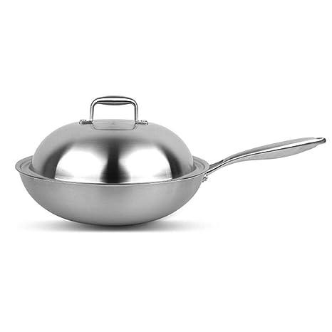 PZXY Woks Wok de Acero Inoxidable sin Utensilios de Cocina Cocina General Pan sin Recubrimiento Antiadherente