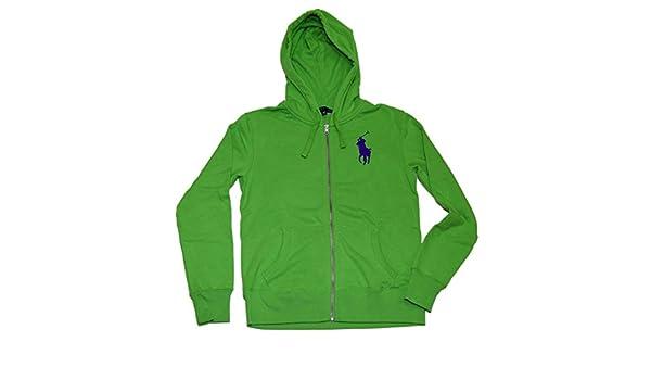 Ralph Lauren Polo Womens Big Pony Zip Hooded Hoodie Sweatshirt Green Purple Medium