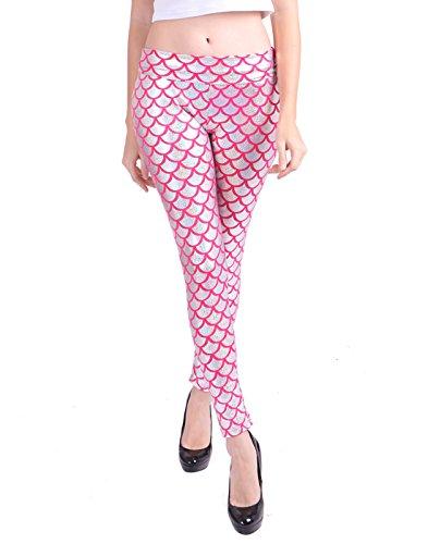 HDE Women Shiny Mermaid Leggings Liquid Wet Look Fish Scale Metallic Tight Pants (Pink, Medium)]()