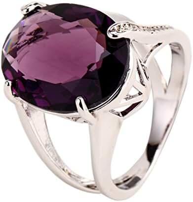 GULICX White Gold-Tone Amethyst Color Zircon Oval Elegant Ring Purple Women's