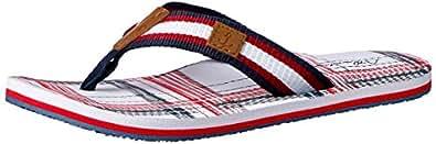 Atlantis Shoes Men's Navigation Plaid Square Thong Sandals, White, 6 US(40 EU)