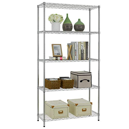 5 Shelf Wire Shelving Unit Garage NSF Wire Shelf Metal Large Storage Shelves Heavy Duty Height Adjustable Utility Commercial Grade Steel Layer Shelf Rack Organizer 1250 LBS Capacity -14x36x72,Chrome ()