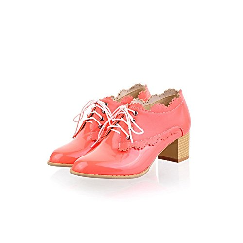 Leather Round PU Closed 5 4 Pumps Mid Solid Bandage Patent M Heel whith Toe Rosered WeenFashion Women's US B AqS0Z