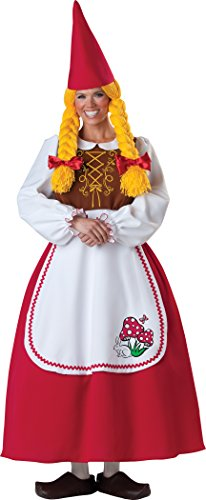 Mrs Garden Gnome Costumes (InCharacter Costumes Women's Mrs. Garden Gnome Costume, White/Red, Medium)