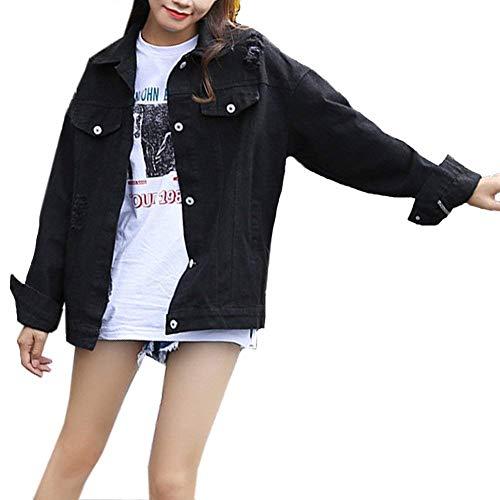 Jeans Puro Primaverile Stlie Moda Bild Giacche Di Als Strappato Autunno Cappotto Outerwear Nero Manica Colore Festiva Tasche Con Jacket Retro Elegante Grazioso Donna Button Lunga Giaccone xP7wfYqgw