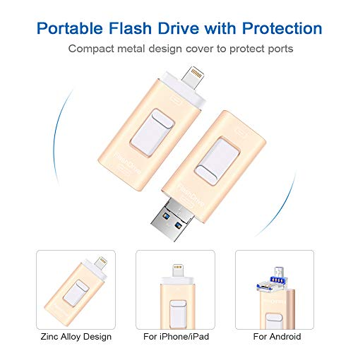 Flash Drives for iPhone and iPad 128G,SUNANY iOS Flash Drive Memory Stick Expansion for iPhone,iPad,MacBook,Android,pc and More Devices with USB Port (128GB Gold) by Sunany (Image #3)