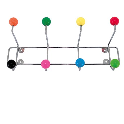 Childrens Coat Rack - Hat and Coat Rack from Present Time: Wall Mounted Multi Colored Hooks for Storage and Organization.