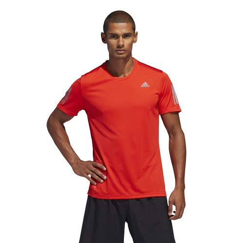 adidas Men's Own The Run Tee, Active Red/Reflective Silver, - Tee Run Active