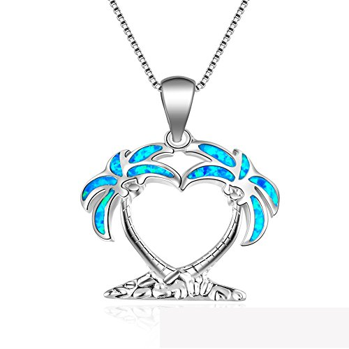J.Me 925 Sterling Silver Synthetic Necklace Pendant Jewelry Opal Palm Tree Blue For Women Wife Girl Birthday Lady 18