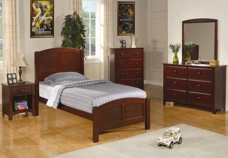 Coaster 400291TSET4 Parker 4 Pc Twin Size Bedroom Set in Deep Cappuccino Finish (Bed Nightstand Dresser and