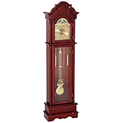 Coaster Traditional Brown Red Grandfather Clock with Chime