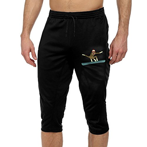 Sock Monkey Snowboarder Cool Active Men's Lightweight Relaxed Fit Drawstring Woven French Terry 3/4 Pants