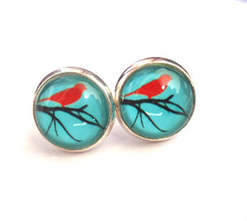 - Tiny Birds Studs Earrings,Turquoise Studs Earrings,Vintage Jewellery,Glass Earrings,Glass Round Silver Earrings,Glass Dome,Alloy Products,