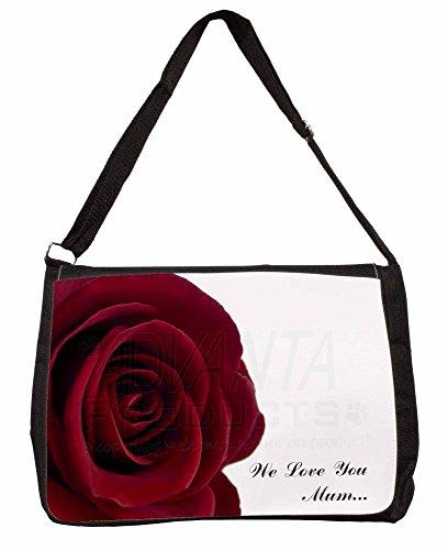 Red Rose We Love You Mum Large 16 Black School Laptop Shoulder Bag