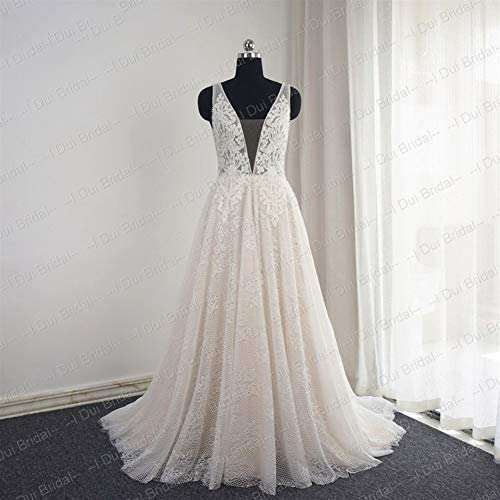 HIN GU - Wedding dress Robe de mariée Robe de mariée en cristal perlé, dentelle de mariée, robe de mariée faite sur commande photo réelle (Color : Long sleeve champ, US Size : 6)