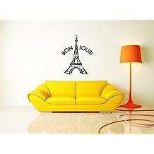 Bon Jour Eifel Tower Paris France Nursery Decal Kids Room Decor sticker vinyl decal wall art