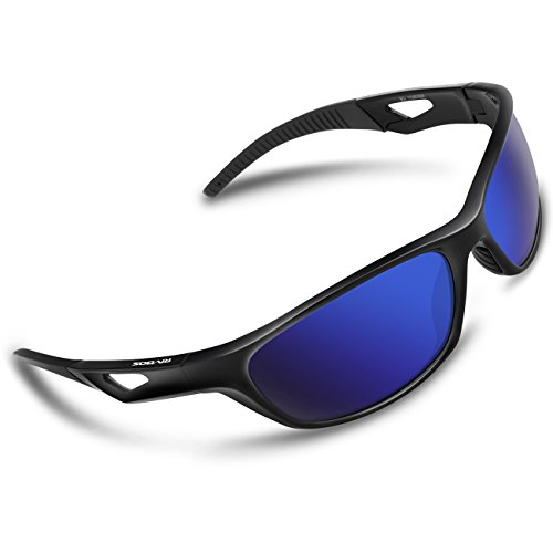 RIVBOS Polarized Sports Sunglasses Driving Glasses for Men Women Tr90 Unbreakable Frame for Cycling Baseball Running Rb831 (Black&Black Mirror Lens)