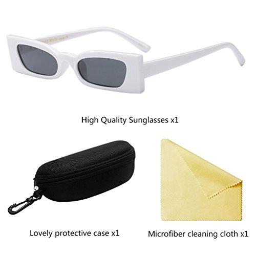 White Definición Vintage Alta de Lentes UV Marco Gafas Protección Sol de Zhhlaixing Pequeño Cuadrado IOwdCnCq