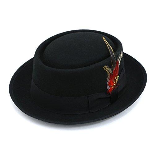 M - Ferrecci Premium Black Wool PORK PIE Hat