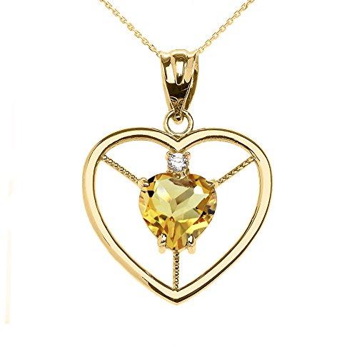 Collier Femme Pendentif Élégant 14 Ct Or Jaune Citrine et Diamant Solitaire Cœur (Livré avec une 45cm Chaîne)