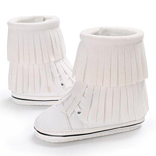 BZLine® Baby Sohle Quasten Schuhe Baby Weiß Stiefel Schneeschuhe Weiche Weiche Krippe f5r15qWPnw
