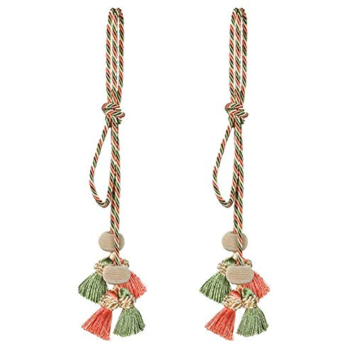 Rayon Curtain - Ozzptuu A Pair Rayon Creative Hand-woven Curtain Tiebacks Nail Free Hooks Bow Tie Decorative Curtain Rope Cord Tassel (Pink/Green)