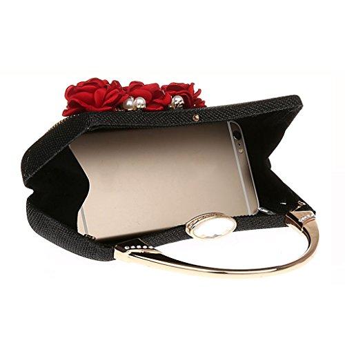 Baoblaze Nero Moda Sposa Pochette Donna Partito Sera Sacchetto da Borse Portafoglio Ragazze rfZrFPwqx
