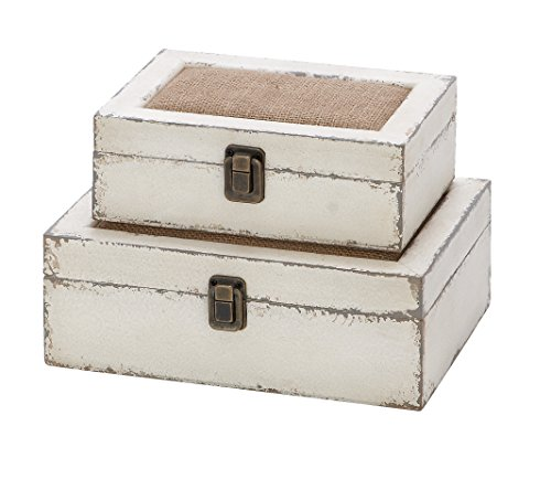 Deco 79 Wood Box, 10 by 8-Inch, White, Set of 2