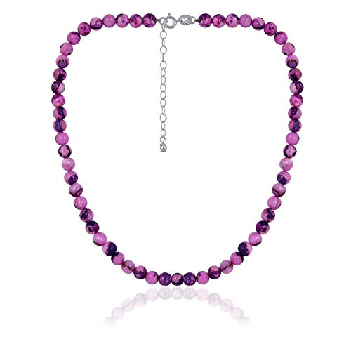 Sea of Ice Pinkish Purple Agate 6mm Round Beads Necklace 14
