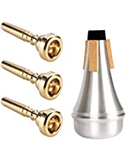 3 Pack Trumpet Mouthpiece (3C 5C 7C) Gold with Lightweight Aluminum Practice Trumpet Mute Silencer Fit for Yamaha Bach Conn King Replacement Musical Instruments Accessories