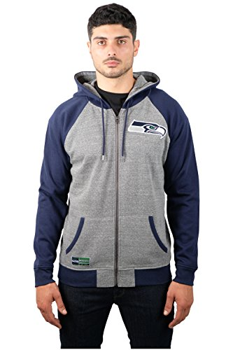 NFL Men's Seattle Seahawks Full Zip Fleece Hoodie Sweatshirt Jacket Contrast Raglan, X-Large, Gray