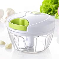 DoForte Handy Mini Plastic Chopper Vegetable Cutter with 3 Blades and Pull Handle Fruit Cutter Fruit Chopper Chilly Chopper Onion Cutter (Multi)