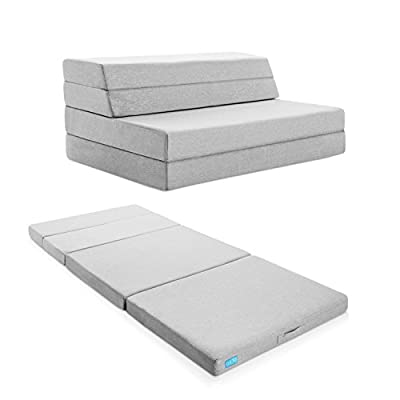 LUCID 4 Inch Folding Mattress and Sofa with Removable Indoor / Outdoor Fabric Cover