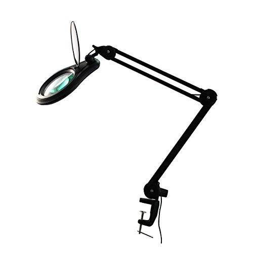 ESD PRO LED Magnifying Lamp - Full Spectrum Daylight Bright Magnifier Glass Lighted Lens - Adjustable Swivel Arm Utility Clamp Light for Desk Table Task Craft or Work Bench, Black, 3 Diopter, 1.75X by BoliOptics