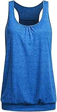 BCDlily Women Tank Tops Tunic Plain Color Racerback Sleeveless Loose Blouse Vest Casual T Shirt