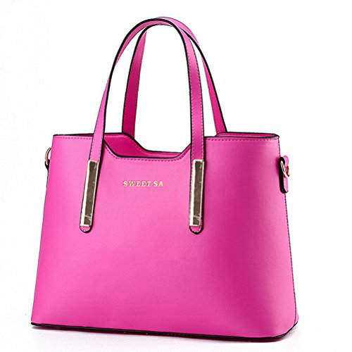 Pink Purses (Fashion Road PU Leather Womens Shoulder Bags Top-Handle Handbag Tote Purse Bag Rose)