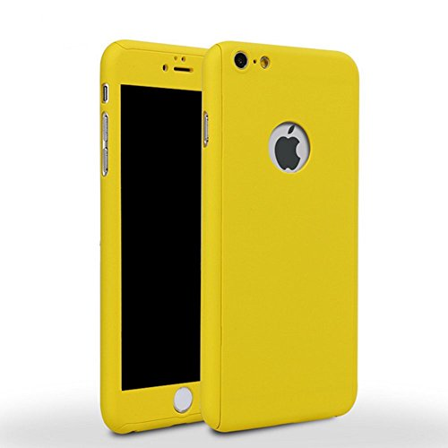 iPhone 7 Plus 5.5 Inch Full Body Case-Superstart Yellow iPhone 7 Slim Sleek Case 360 Degree Full Protection Shockproof Case with Tempered Glass Screen Protector for iPhone 7