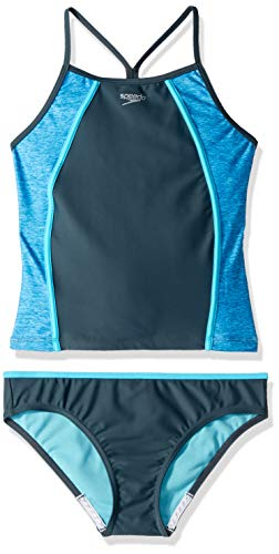 Speedo Heather Splice Tankini Twopiece, Asphalt, -
